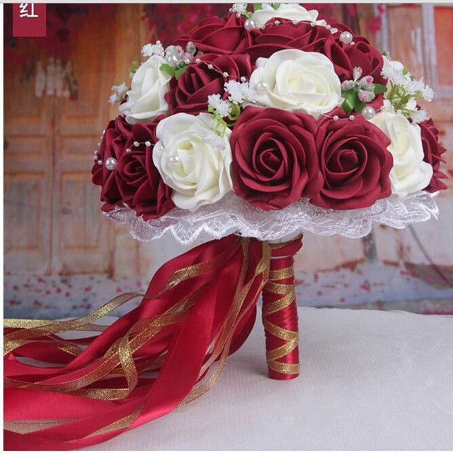 2016 Handmade Flowers Decorative Artificial Rose Flowers Pearls Bride Bridal Lace Accents Burgundy&White Wedding Bouquets