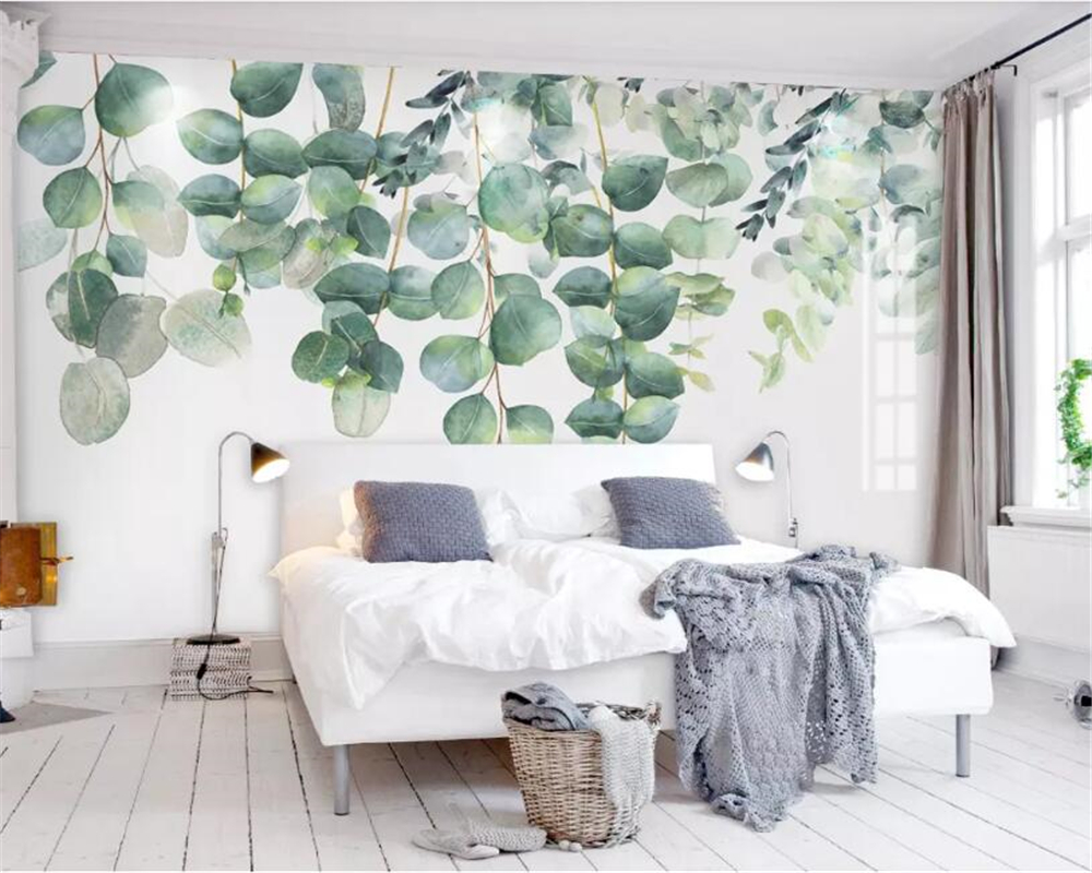 Tuya A L Aquarelle Vert Pale Arbres Papier Peint Pour Salon