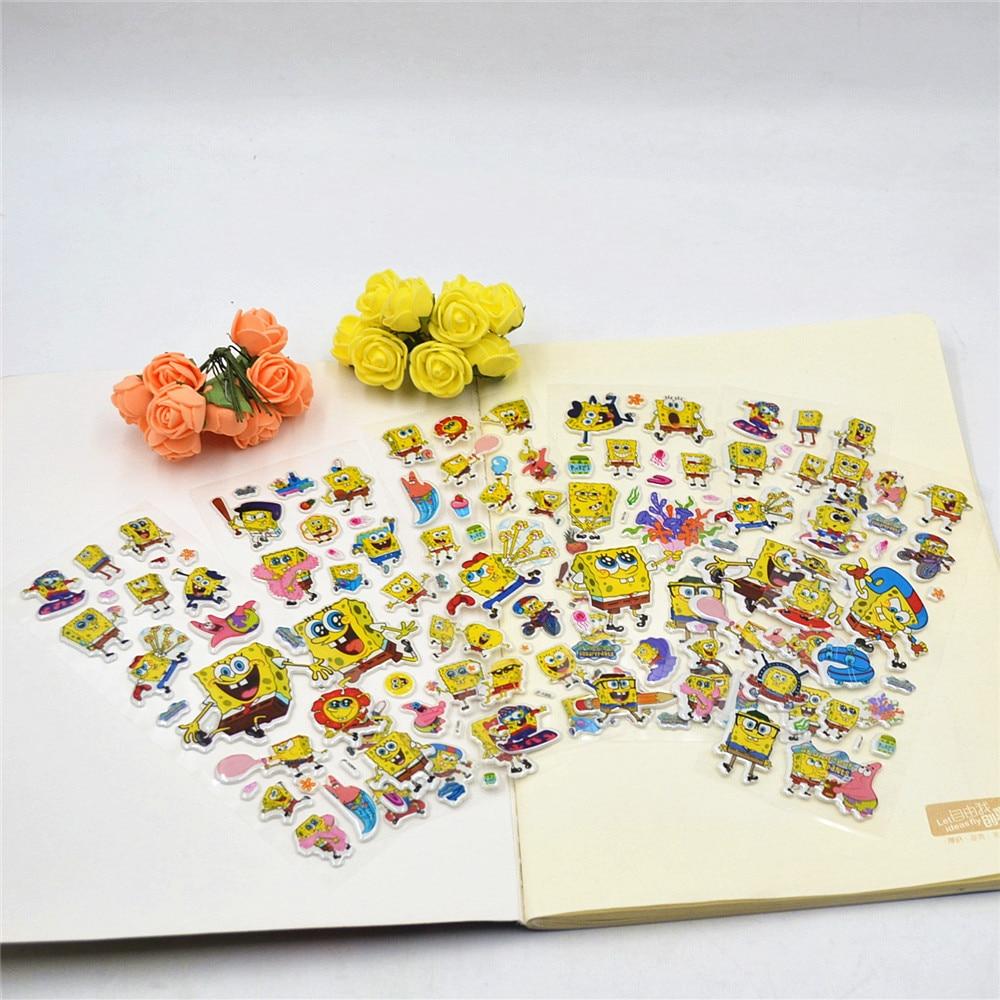 6Pcs/Set SpongeBob 3D Cartoon Bubble Stickers Children DIY Diary ...