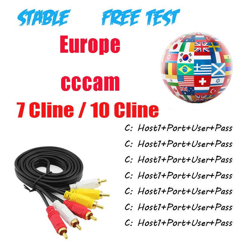 Cccam 1 an 7 Cline 10 Cline Europe serveur rapide et Stable HD DVB-S2 récepteur de télévision par Satellite espagne allemand italie arabe
