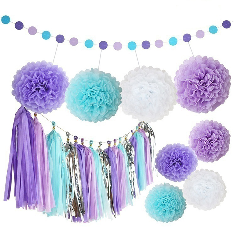25Pcs Purple Paper Flower Ball Tassel Paper String Flag Birthday Party Set Baby Shower Wedding Party Backdrops Decor