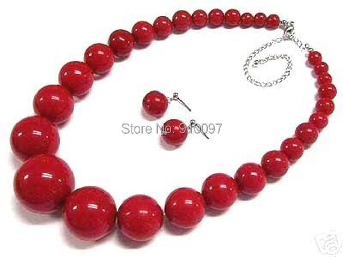 LHX54012>>Women's jewelry red coral bead necklace earring set
