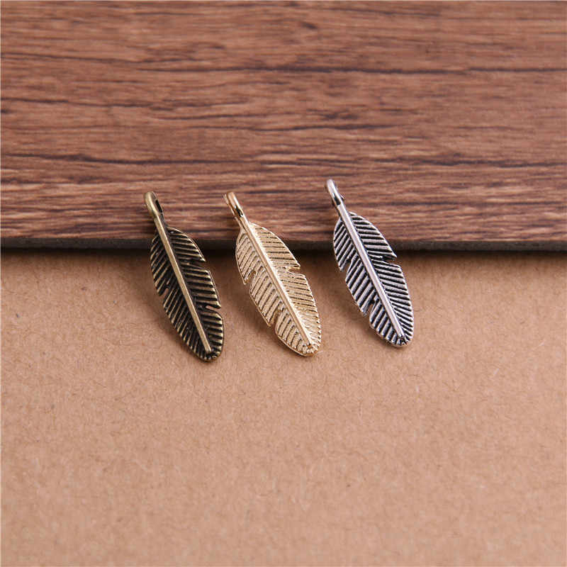 PULCHRITUDE 30pcs 6*21mm Three Color Metal Alloy Small Leaf Charms Diy Jewelry Findings Jewelry Accessories Wholesale P6456