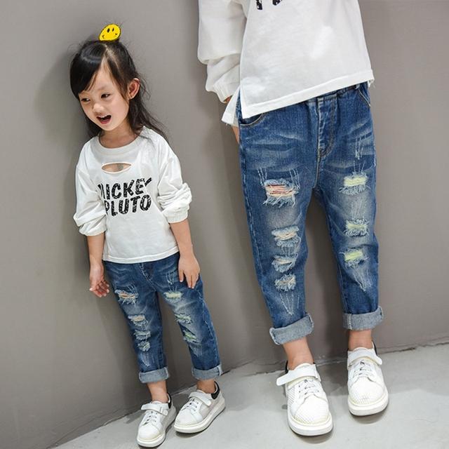 Crianças Buraco Quebrado Calças Calças 2016 Do Bebê Das Meninas Dos Meninos Moda Denim Lavado Calças Jeans Cintura Elástica Crianças Roupas TZ142