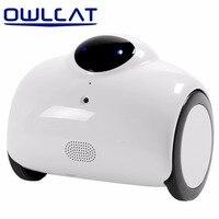 OWLCAT Ruchomego Domu Inteligentnego Robota WIFI IP Kamera HD 720 P 1MP Bezprzewodowe CCTV Niania Zabawy Interaktywne Dotykowy Dwukierunkowy Audio
