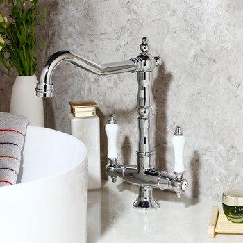 KEMAIDI  Bathroom Sink Basin Faucet Deck Mount Bright Chrome Swivel  Washing Basin Mixer Water Taps 360 Swivel 2 Handles Tap
