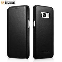 For Galaxy S8 Plus Case ICARER Premium Genuine Leather Folio Phone Case For Samsung Galaxy S8