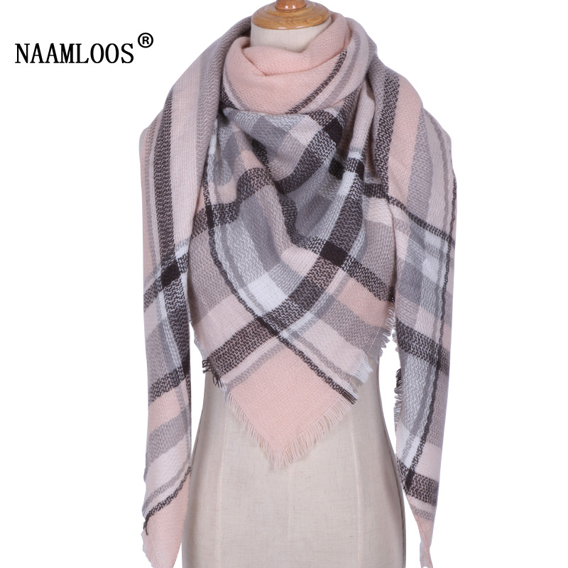 2018 Winter Pashmina   Scarf   Luxury Brand Women Soft Designer Triangle Shawl ladies Scarfs and   Wraps   Plaid Foulard Dropshipping