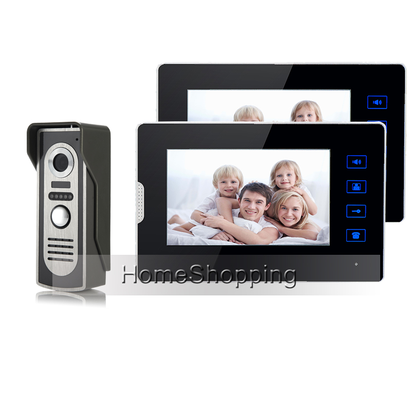 New Wired 7 Color Touch Key Screen Video Door Phone Intercom System 2 Monitors + Waterproof Door Camera In Stock FREE SHIPPING new 4 3 video intercom apartment door phone system 2 hand held monitors 1 door camera for 2 household in stock free shipping