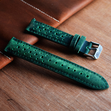 Vintage Green Watch Band Genuine Leather Wrist Straps 18mm 20mm 22mm 24mm Accessories Men Women High Quality Watchbands KZH04 стоимость