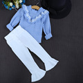 2016 niños otoño nuevo Coreano dama azul blanco niñas V 100 camisa de manga larga volante envío libre