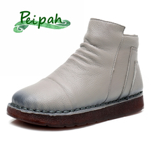 PEIPAH Top Quality 100% Genuine Leather Women's Ankle Boots Retro Zip Round Toe Flat With Martin Boots Woman Winter Ladies Shoes цены онлайн