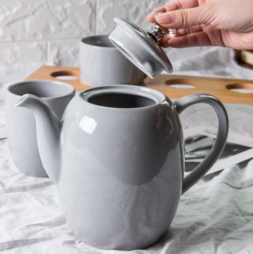 Light Gray Crystal Diamond Handle Ceramic Teapot Flower Tea pot Heat resistant Juice Pot Jug Teteras De Coleccion Teapot Set in Teapots from Home Garden