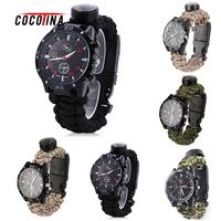 COCOTINA Outdoor Camping Compasss Watch Paracord Survival Bracelet Wrist Watch With Compass LSB01121