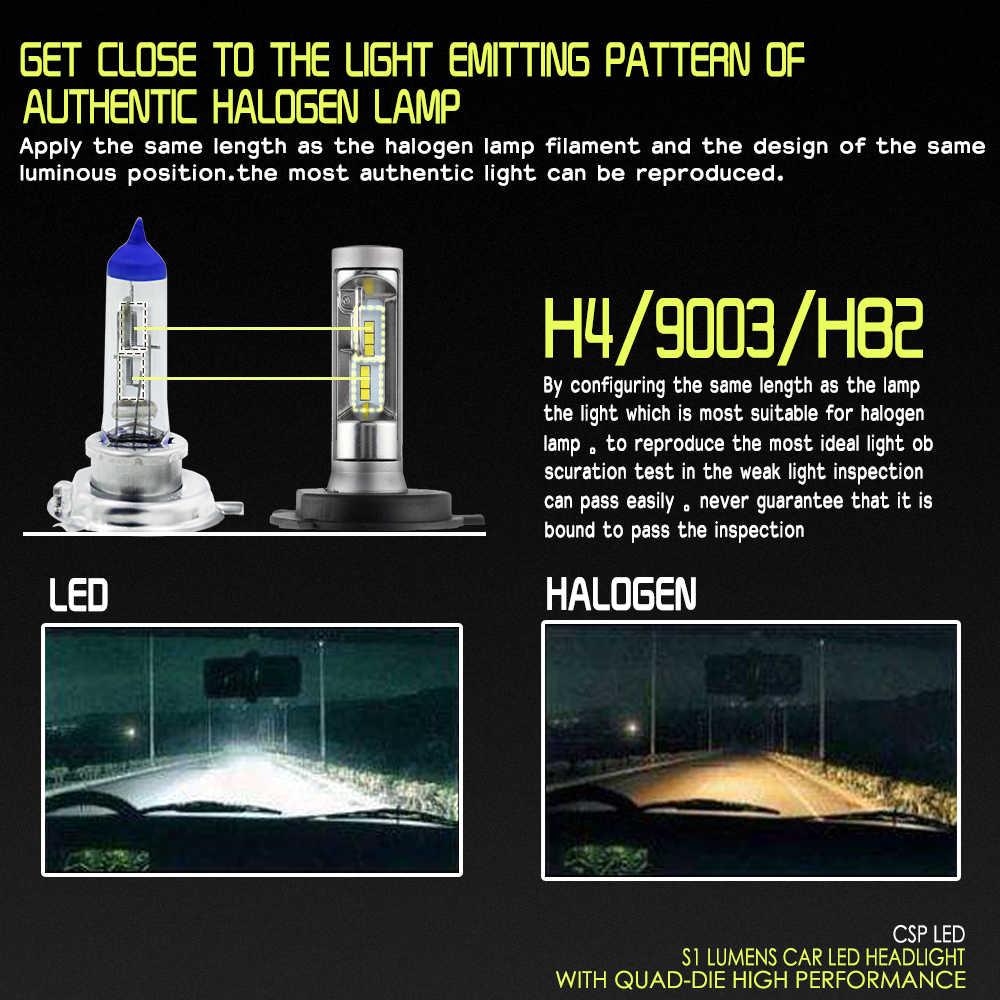 PAMPSEE S1 H4 H7 9005 9006 H11 LED Car Headlight Bulbs Auto LED Head Lamp Hi-Lo Beam 50W 8000LM 6500K 12V 24V Offroad 4x4 truck