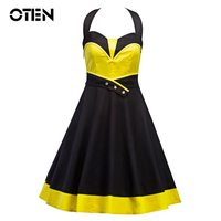OTEN Women Summer Halter ColorBlock Patchwork Button Backless Tunic Party Casual Retro Vintage Rockabilly Pin Up