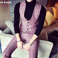 CH.KWOK Plaid Mens Dress Tuxedo Suits Vest Office Work Business Mens Formal Vest High Quality Chaleco Hombre Male Casual Outwear