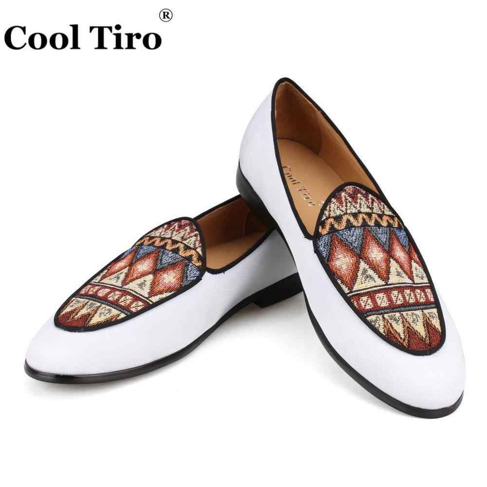 Cool Tiro White Canvas Loafers Men Smoking Slippers Formal Wedding Dress  Shoes Men s Moccasins Genuine leather 89018e8b0aa7