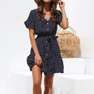 Image 5 - Шифоновое летнее платье в горошек, Пляжное Платье Бохо, винтажные Сексуальные вечерние платья с коротким рукавом, мини сарафан размера плюс