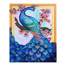 animal Blue Peacock crystal Diamond Painting Partial Round floral New DIY Sticking Drill Cross Embroidery 5D Home Decoration цена 2017
