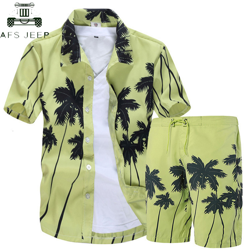 2019 Summer Fashion Floral Print Hawaiian Shirts Men + Beach Shorts Men Short Sleeve Causal Shirts Men Clothing Sets Tracksuit
