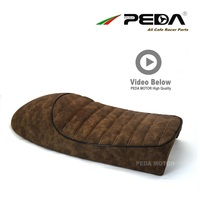 A14 PEDA Cafe racer Hump seat 53cm Vintage Leather Brown for HONDA YAMAHA universal Motorcycle Retro Saddle Asiento Sitz Sattel
