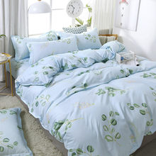 3/4pcs High Quality Green Leaf Printing Textile Bedding Set Include Duvet Cover&Sheets&Pillowcases Comfortable Home Bed Set(China)