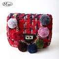 Colorful Hair Ball Chain Woolen Handbag Fashion Small Square Bag Warm Winter Ecening Clutch Bag Chain Shoulder Crossbody Bags