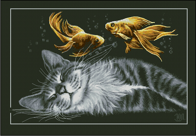 Free delivery top quality popular counted cross stitch kit for Dreaming of fish