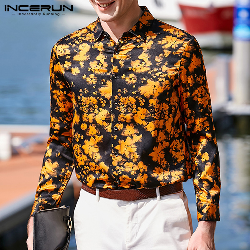 INCERUN 2020 Men Dress Shirt Printing Silk Satin Long Sleeve Lapel Neck Tops Camisa Masculina Office Social Business Shirts Men