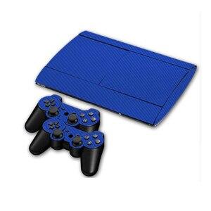 Image 2 - カーボンファイバービニールソニー PS3 スーパースリム 4000 コンソールと 2 ゲームパッドコントローラスキンカバー controle スキン