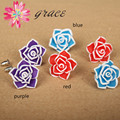 2pairs/lot 20mm Polymer Clay Fimo Ceramic Artificial Rose Flower Earring Studs DIY Girls Resin Flower Ear Decoration Accessories