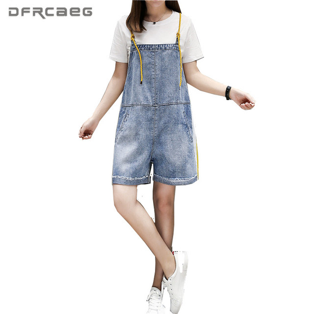 4xl 5xl Plus Size Denim Rompers Womens Jumpsuit Shorts 2018 Summer