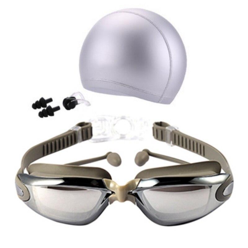 b311f20c0f2d9 Mulheres Homens À Prova D  Água Anti-nevoeiro Proteção UV Surf Natação  Óculos de Natação Profissional Óculos Swim Caps Tampões Nariz Clipe Set