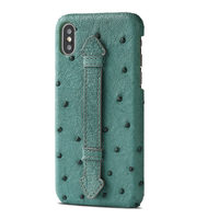 High end Luxury Leather Ostrich Bracket Phone Case for iphone 6 6s 7 8 Plus All inclusive Anti fall XS Max XS XR X Cover