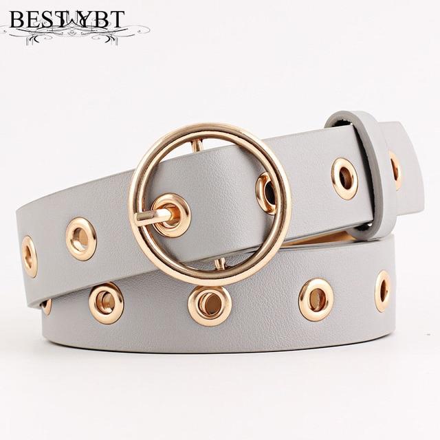 Best YBT Women leather belt  Round Metal pin buckle Circle Belts Hot Brand fashion Punk O Ring for Women belt  1