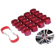 20pcs/set Red Universal 17mm Wheel Nut Bolt Cover Cap with 2 Removal Tool Set Exterior Decoration Protecting Rims