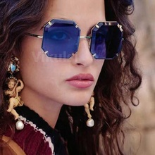 High Quality Oversize Rimless Square Sunglasses Women Brand