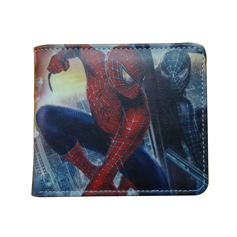 New Anime Style Spiderman Men Wallet PU Leather Card Holder Purse Dollar Price Boys Girls Short Wallets with Zipper Coin Pocket cartoon japan anime one piece luffy wallet with money coin pocket zipper leather pu purse