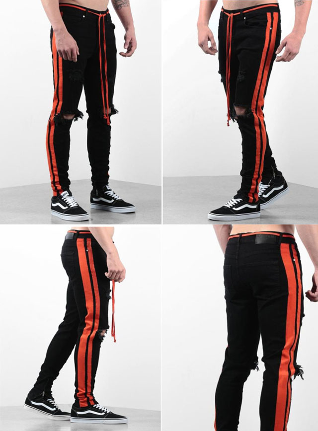 Mens Skinny Jeans Striped Denim Pants Full Length And Pencil Trousers(China)