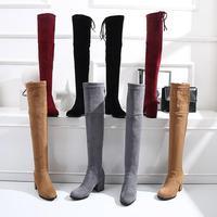 Модные женские растягивающиеся сапоги Chic 7 см Обувь на высоком каблуке выше колена пикантные сапоги на осень зиму замшевые высокие сапоги