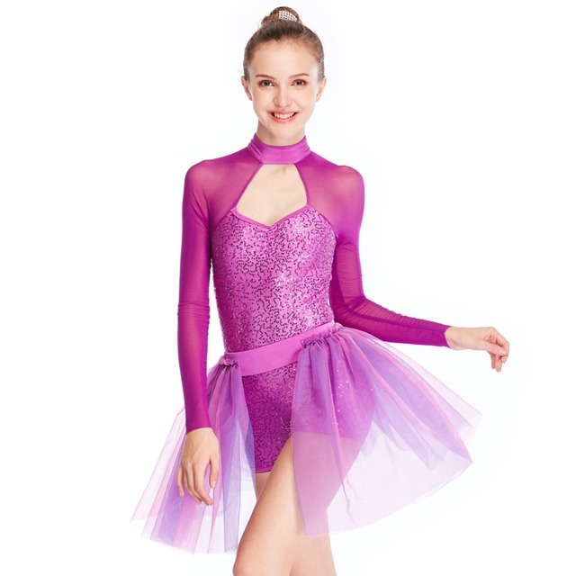e88605fcec116 MiDee 2 Pieces Dance Costumes Sequins Modern Leotard Dance Costumes Ballet Dance  Dress Lyrical Contemporary Dance Costumes