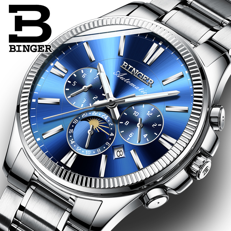 BINGER Watch Men Luxury Brand Automatic Mechanical Watch Sapphire Wristwatches Moon Phase relogio masculino Men Watches B1180-7 unique smooth case pocket watch mechanical automatic watches with pendant chain necklace men women gift relogio de bolso