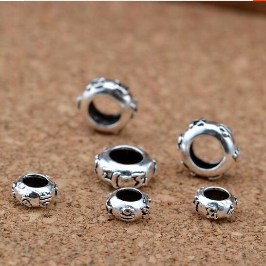 Candid 100% 925 Silver Tibetan Om Mani Padme Hum Beads Sterling Buddhist Words Beads Pure Silver Large Hole Tibetan Six Proverb Beads Beads & Jewelry Making