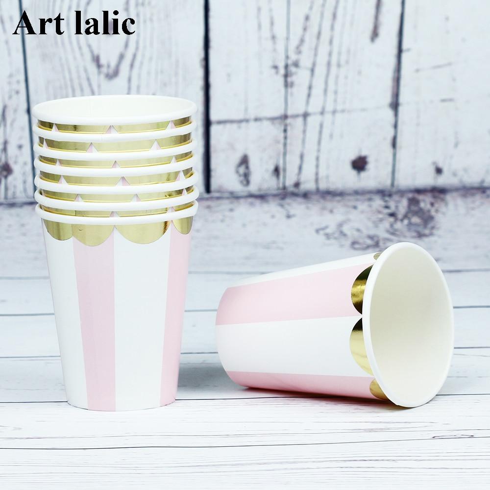 8pcs / lot 호 일 골드 스트라이프 종이 컵 일회용 식기 웨딩 생일 장식 아이를위한 베이비 샤워 소녀 소년 CP070