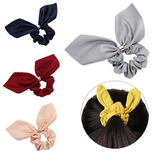 цены на Cute Rabbit Ear Rubber Headband for Women Hair Bows Solid Ponytail Holder Scrunchies Hair Ties for Girls Hair Accessories  в интернет-магазинах