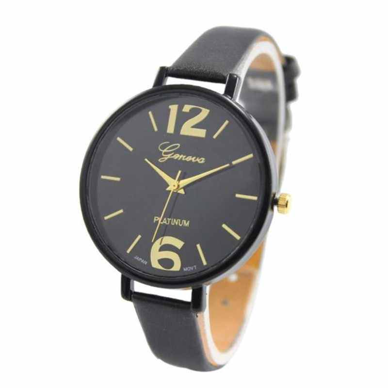 Hot Women Faux Leather Analog Quartz Wrist Watch in Ten Colour or Watch's Box in Red and Black montres femmes montre de mode