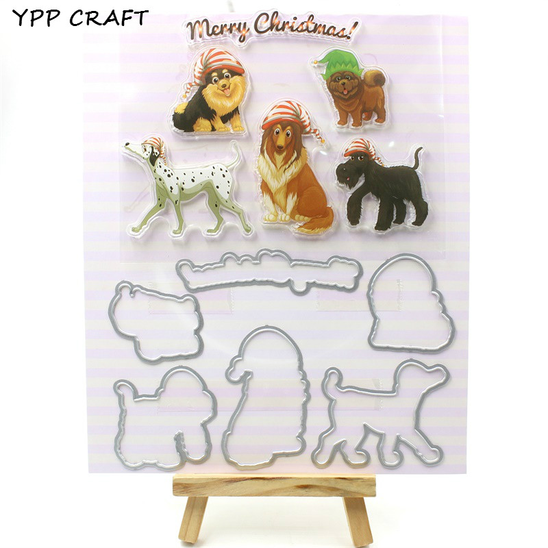 YPP CRAFT Cute Dogs Transparent Stamp And Cutting Dies for DIY Scrapbooking/Card Making/Kids Fun Decoration Supplies цена и фото