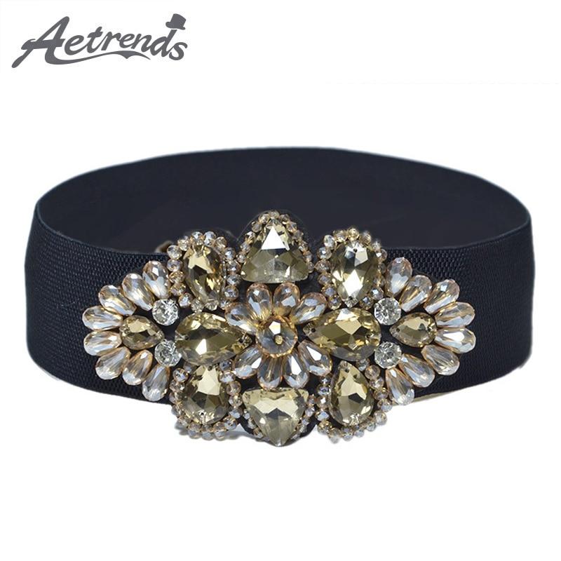 [AETRENDS] Rhinestone Wide Women Cinch Belt Female Sweet Fashion Crystal Beaded Flower Girdle Waistband Cummerbunds D-0050