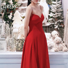 INDRESSME 2019 Bandage Solid Red  Dress New Women Spaghetti Strap V Neck Backless With Belt Midi Sexy Club Party A Line Dresses